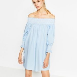 Zara Off the Shoulder Poplin Dress